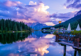 Amazing nature view of Misurina Lake and mountain range during a beautiful sunset. Location: Lake Misurina, Dolomites Alps, South Tyrol, Italy, Europe. Artistic picture. Beauty world. Nature Landscape Fototapete