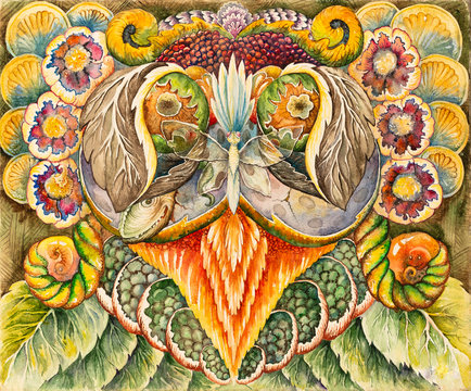 Symmetrical abstraction composition. Watercolor drawing. Mask of a fantastic image. Portrait of an alien creature.
