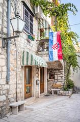 Croatian flag on a house in Makarska, Croatia