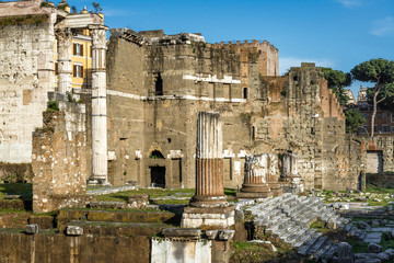 Fototapete - Forum of Augustus with the temple of Mars Ultor, Rome, Italy. This forum is a landmark of Rome. Scenic panorama of the Ancient Roman ruins in the Rome center. Remains of old architecture of Rome.