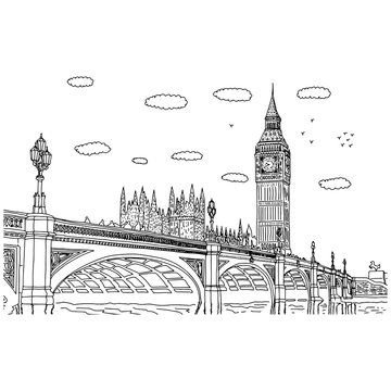 Big Ben in London vector illustration sketch doodle hand drawn with black lines isolated on white background