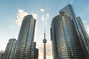 A dramatic view of Toronto waterfront high rise towers