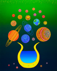 Vase with Flowers. Sun = Vase. Planets = Flowers. Stars = Vases, Vaz constellations, Zodiac signs. . . .