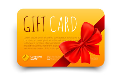 Golden Gift card template with realistic red bow. Certificate, coupon, flyer design. Discount card for shop or boutique. Vector illustration
