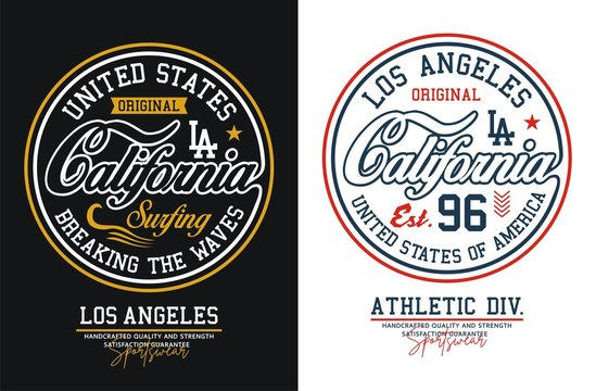 California typography for t-shirt printing design and various uses, vector image.