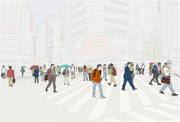 Hand drawn illustration. A crowd of people crossing the street in Tokyo Japan.