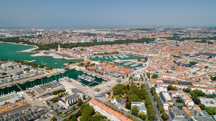 Aerial photography of La Rochelle city in Charente Maritime