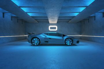 Sports car in blue garage