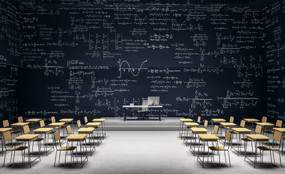 Modern classroom with math formulas