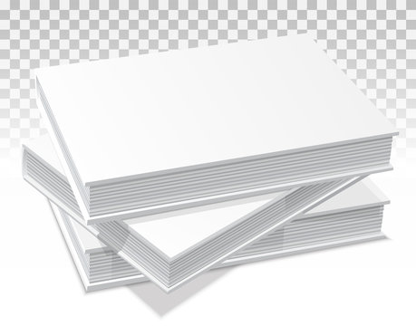 Template of three books with a hard cover. They lie on the surface one on another, in a pile. In perspective. Realistic image. On a transparent background. Isolated object for design. Vector