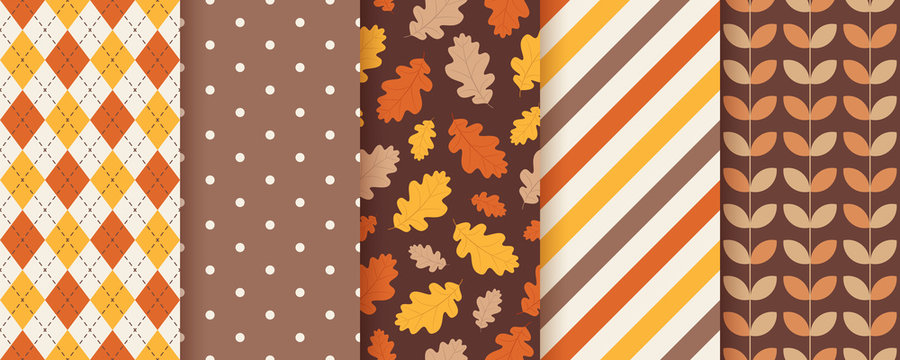 Autumn pattern. Vector. Seamless background with fall oak leaves. Set seasonal geometric textures. Colorful cartoon illustration in flat design. Abstract wallpaper.