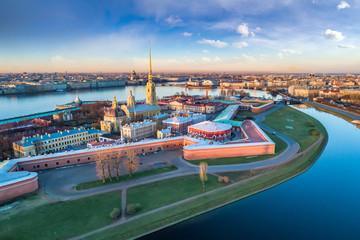 Saint Petersburg. Russia. Panorama of St. Petersburg. Peter and Paul Fortress top view. Rabbit Island. Vasilyevsky Island. Neva River. Bridges of St. Petersburg. Travel to Russia. Wall mural