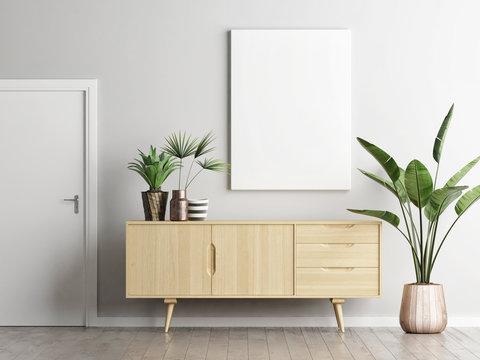 Poster above sideboard in living room with plants, 3d render, 3d illustration