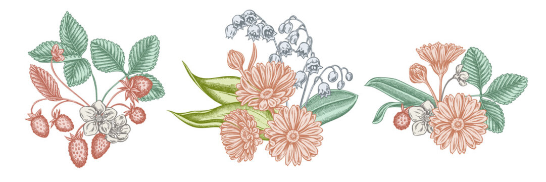 Flower bouquet of pastel calendula, lily of the valley, strawberry