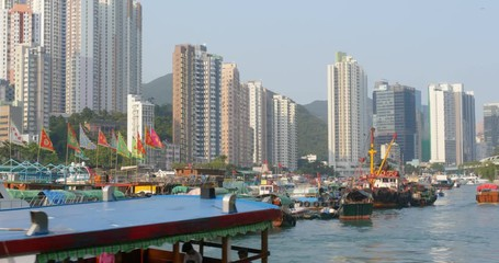 Wall Mural - Hong Kong fishing harbor port
