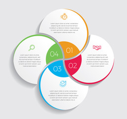 Fototapeta Infographic design vector and marketing icons can be used for workflow layout, diagram, annual report, web design.  Business concept with 4 options, steps or processes. - Vector  obraz