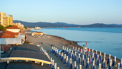 View of beach in Follonica, Italy.