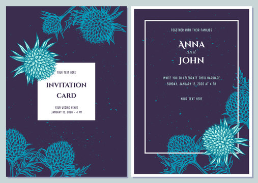 Wedding invitation card with blue globethistle