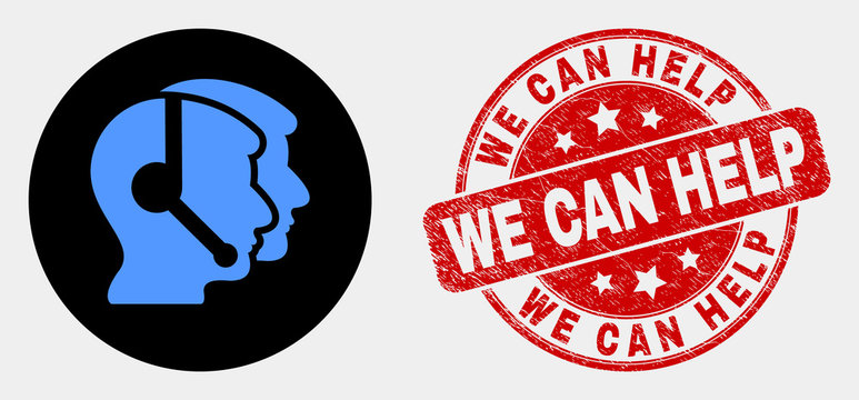 Rounded call service operators icon and We Can Help seal stamp. Red rounded grunge stamp with We Can Help text. Blue call service operators icon on black circle.