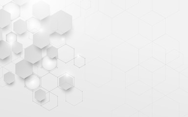Abstract white and grey geometric technology digital hi tech concept and Futuristic design background