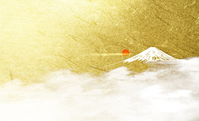 Wall Mural - 富士山と日の出(背景は金色の背景)