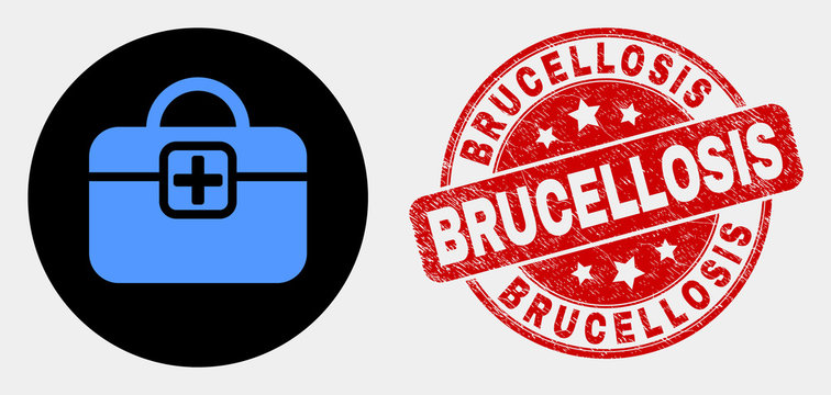 Rounded first-aid case icon and Brucellosis watermark. Red rounded grunge watermark with Brucellosis caption. Blue first-aid case icon on black circle.