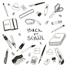 Concept of education. School background with hand drawn school supplies and with Back to School lettering