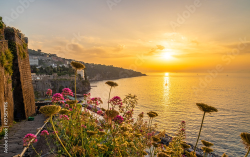 Wall mural Landscape with Sorrento at sunset time, amalfi coast, Italy