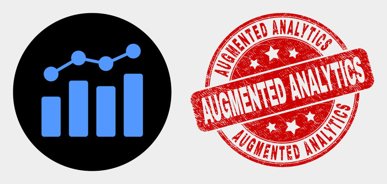 Rounded trend chart icon and Augmented Analytics seal. Red rounded distress seal with Augmented Analytics caption. Blue trend chart icon on black circle.