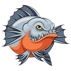 angry piranha fish mascot