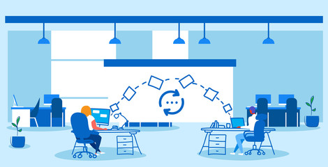 man woman coworkers transferring data folders sharing work files colleagues sitting at workplace using cloud network system file transfer concept co-working center interior sketch doodle horizontal