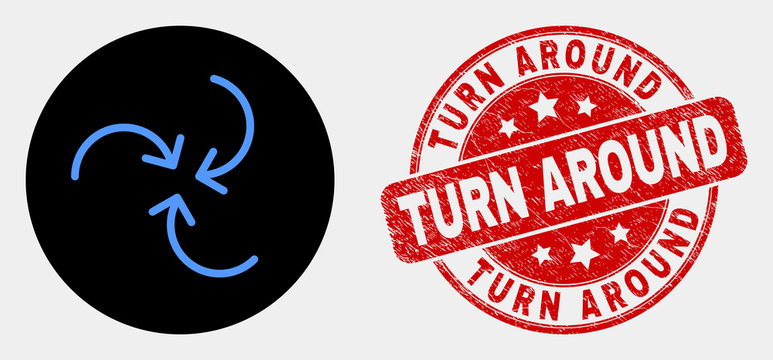 Rounded swirl arrows icon and Turn Around seal stamp. Red rounded textured seal stamp with Turn Around caption. Blue swirl arrows icon on black circle.