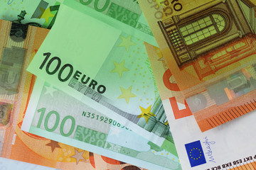 One Hundred and Fifty euro banknotes green color toned close up