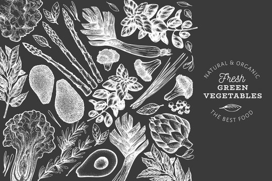 Green vegetables design template. Hand drawn vector food illustration on chalk board. Engraved style vegetable frame. Retro botanical banner.