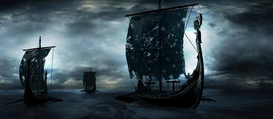 Three drakkars sailing through the sea