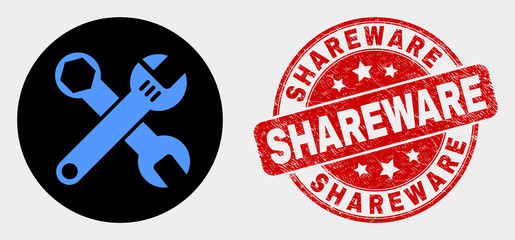 Rounded wrenches icon and Shareware watermark. Red rounded scratched watermark with Shareware text. Blue wrenches icon on black circle. Vector combination for wrenches in flat style.