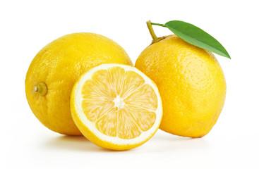 fresh lemons isolated on white background Fototapete