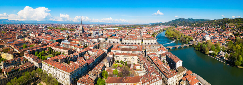 Turin aerial panoramic view, Italy