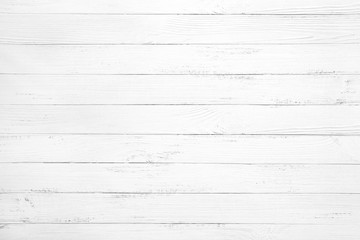 Photo sur Toile Bois Vintage white wood background - Old weathered wooden plank painted in white color.