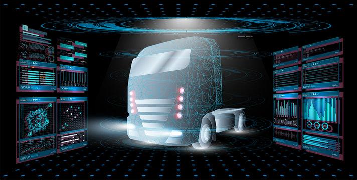 Autonomous smart truck. Unmanned vehicles. artificial intelligence controls the Autonomous truck. Hologram car style in HUD,UI,GUI. Hardware Diagnostics Condition of Car. Analysis and diagnostics auto