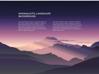 Printed roller blinds Green blue Minimalistic vector landscape background of mountains for your design.