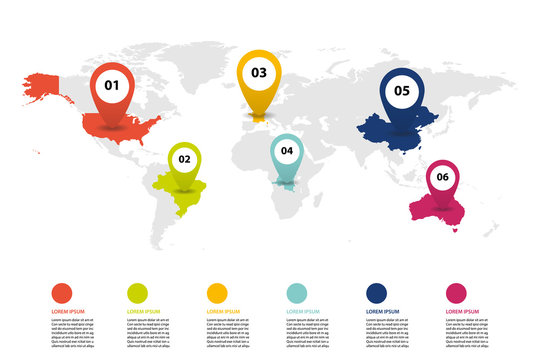 world map infographic, world map information