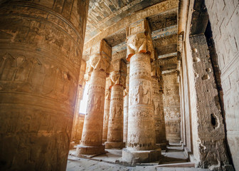 Hypostyle hall with columns in the temple of Hathor at Dendera, Egypt