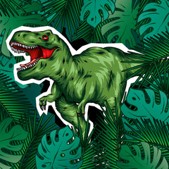 Canvas Prints Draw Dinosaur. Bright vector illustration. Cartoon reptile. Tyrannosaur. Print on clothes, drawing for postcards. Hipster.