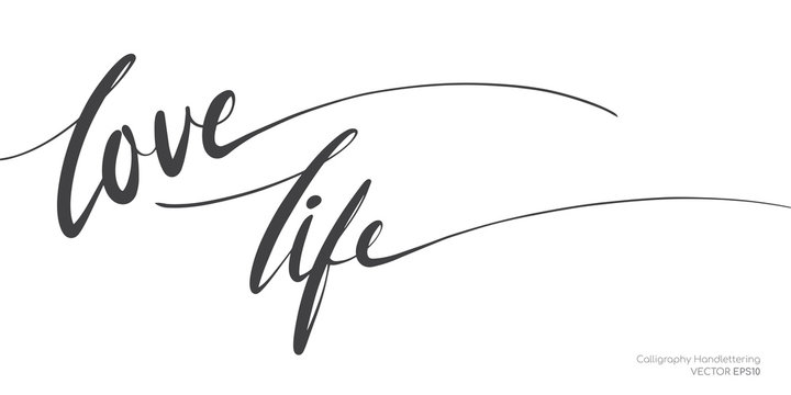 Love life lettering text single line handwritten black brush isolated on white background. Vector illustration.