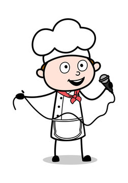 Singing in a Concert - Cartoon Waiter Male Chef Vector Illustration