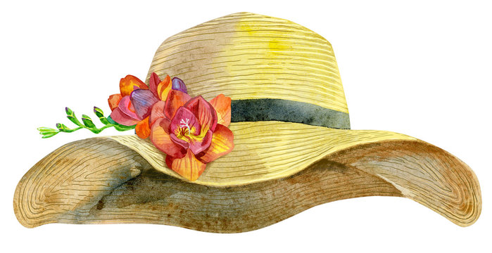 Watercolor women's yellow summer hat with freesia