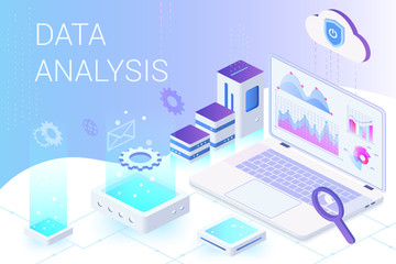 Data analysis isometric web banner vector template