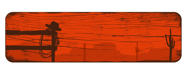 Obraz Wild west landscape background, Cowboy banner, Vector Illustration - fototapety do salonu