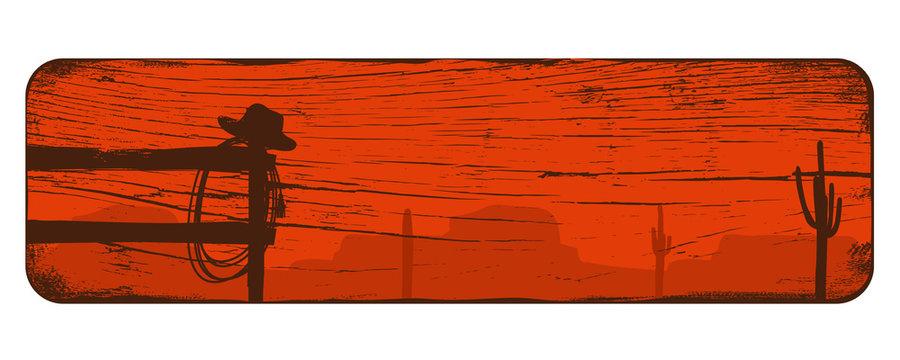 Wild west landscape background, Cowboy banner, Vector Illustration
